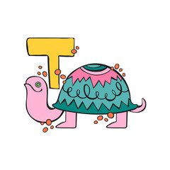 English letter T. Turtle. Isolated vector object on white background.