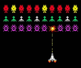 Cosmic invaders game. Pixel space invader set retro style video game vector illustration with bullet and spaceship.