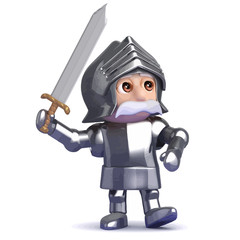 Vector 3d Knight strides into battle