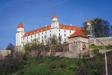 View on the walls of castle, most famous landmark of historic part of Bratislava city, Slovakia