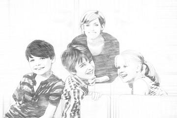 Pencil sketch of three happy school children