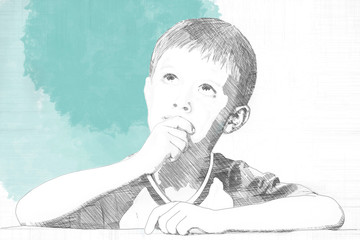 Pencil sketch of a little boy sitting thinking