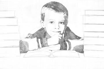 Pencil sketch of a little boy in school