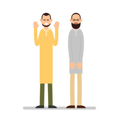 Muslim praying. Two Muslim arabic men in different suit and traditional clothes standing and praying. Hands prayers are raised and lowered. Illustration in flat style. Isolated