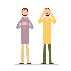 Muslim praying. Two Muslim arabic men in different suit and traditional clothes standing and praying. The performance of Muslim prayer by men with raised hands. Illustration in flat style. Isolated