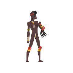 Black native man of African tribe vector Illustration on a white background