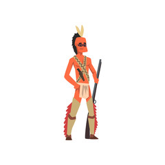 Native American Indian man in traditional clothes and headgear standing with rifle vector Illustration on a white background