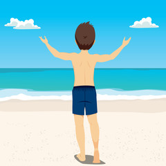 Back view illustration of young man with open arms enjoying summer vacation at beach