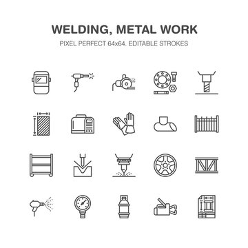 Welding services flat line icons. Rolled metal products, steelwork, stainless steel laser cutting, fabrication, safety equipment. Industry outline sign for welder. Pixel perfect 64x64.