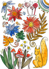 watercolor collection of plants and flowers, squirrel under the mushroom