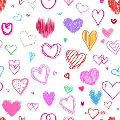 Seamless background with colored hearts. Colorful wallpaper. Hand drawn big and small hearts. Collection. Line art. Print for polygraphy, posters, t-shirts and textiles