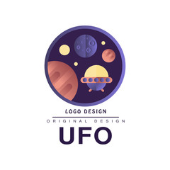 Ufo logo original design, badge with planets and spaceship vector Illustration on a white background
