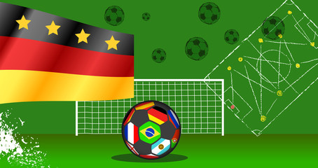 Soccer or football illustration or template with german flag international event