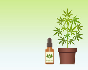 Marijuana plant and dropper with CBD oil. Cannabis Oil. Medical marijuana. CBD oil hemp products. Bottle mock up. Packaging product label and logo graphic template. Vector illustration with copy space