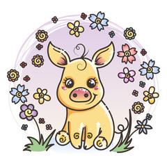 Cute cartoon golden baby pig in love