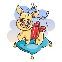 Cute cartoon golden baby pig in a cool sunglasses