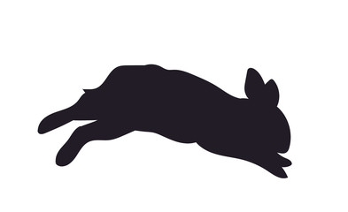 hare jumping, silhouette, vector,