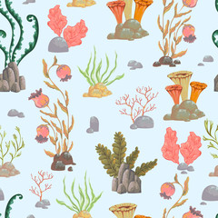 Seamless pattern with sea plants, corals, seaweed and stones. Hand drawn marine flora in watercolor style. Vector illustration