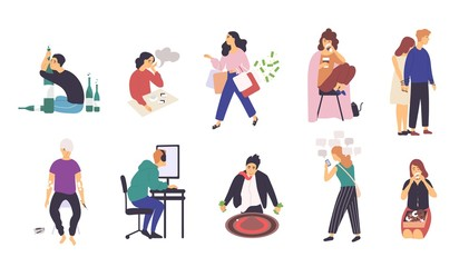 Collection of people with various addictions. Bundle of male and female cartoon characters with different addictive disorders isolated on white background. Colorful vector illustration in flat style.
