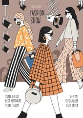 Vertical flyer or poster template for fashion show with top models wearing fashionable apparel walking along runway or doing catwalk. Hand drawn vector illustration for event promotion, advertisement.