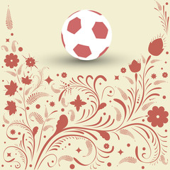 Football. Background with ball. Background with pattern in Russian folk style.