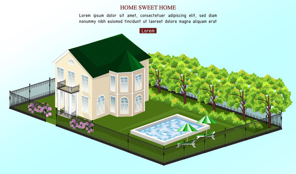 Big house Vector. White house classic style with pool outdoors