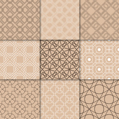 Brown beige geometric ornaments. Collection of seamless patterns