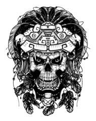 Warrior Jaguar, skull. Vintage design