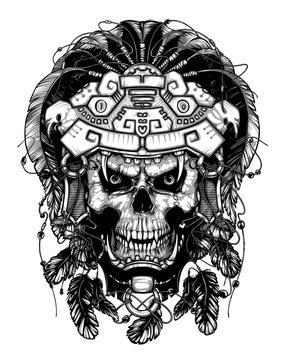 Warrior Jaguar, skull. Vintage design