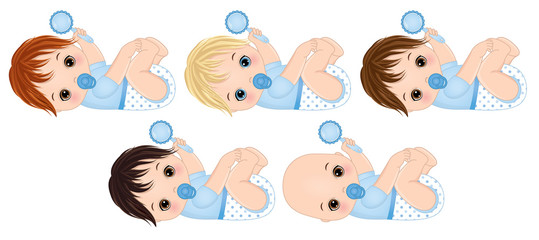 Vector Cute Baby Boys with Rattles. Vector Baby Boy Shower