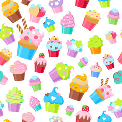 Cupcakes vector seamless pattern background.