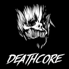 Black and white skull of skull and inscription deathcore