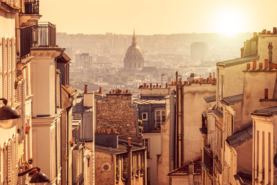 Panorama of Paris, view from the hill of Montmartre, in Paris France