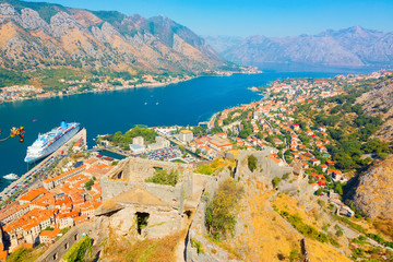 Scenic top view on Boka Kotorska bay. Montenegro