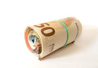 rolle mit geldscheinen, geldrolle, euro, euroscheine, bargeld