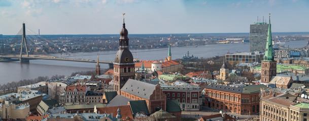 Printed roller blinds New York Riga, die Hauptstadt Lettlands, aus der Vogelperspektive