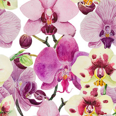 A seamless pattern is made in watercolor in good resolution. The composition consists of the inflorescence of phalaenopsis orchids.