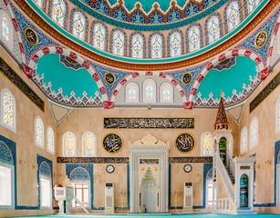 Interior view of Center Isabey Mosque in Bursa