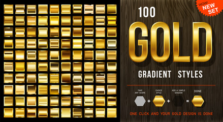 100 vector gold gradient styles. Golden squares collection with contour. Golden background texture. Mega collection golden gradient materials. EPS10