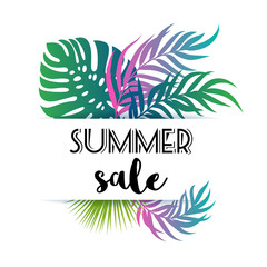 Summer sale - palm tree and monstera leaves tropical background.