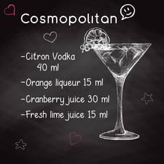 Simple recipe for an alcoholic cocktail Cosmopolitan. Drawing chalk on a blackboard. Vector illustration of a sketch style.
