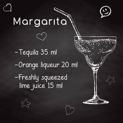 Simple recipe for an alcoholic cocktail Margarita. Drawing chalk on a blackboard. Vector illustration of a sketch style.