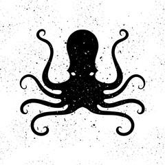 Silhouette of Octopus Icon. Stilized Logo Design. Sea Food Symbol.