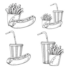 Sketch of fast food. French fries, hot dog, drink isolated on white background.
