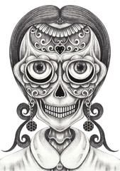 Art  Sugar Girl Skull Tattoo. Hand pencil drawing on paper.