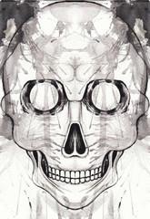 Art Skull Tattoo. Hand black watercolor painting on paper.