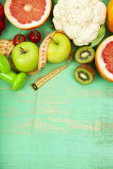 Food for diet and dumbbells