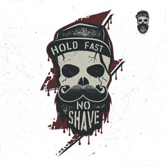 Skull character with blood stains, cap. Vintage hand drawn label, street style. Urban city attributes. No shave sign. Monochrome style. Hipster skull icon. Stock isolated on white background