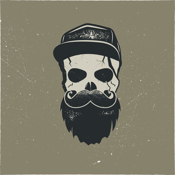 Skull character with blood stains, cap. Vintage hand drawn street style. Urban city attributes. No shave sign. Monochrome style. Hipster skull icon. Stock isolated on dark background