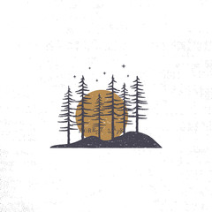 Hand drawn forest with sun concept. Pine trees textured illustration with stars. Isolated on white background. Perfect for camping, adventure logo or badges.
